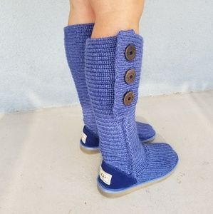 Blue UGG Classic Tall Cardy Knit Boots